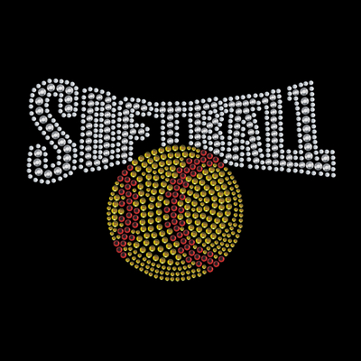 Softball Rhinestone Transfers